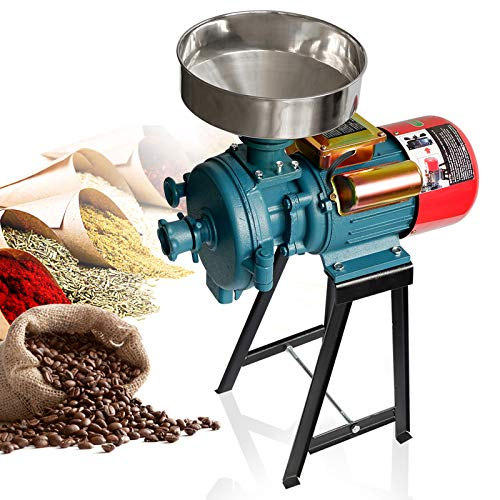 Grain Mills Electric Grain Mill Grinder, 3000W 110V Mill Grinder Electric Grain Grinder Heavy Duty Electric Feed Mill Dry Cereals Grinder Corn Grain Coffee Wheat Feed Machine With Funnel (Dry Grinder)