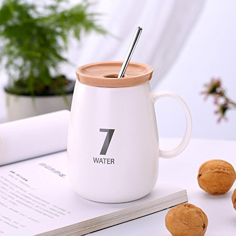 HAN-NMC Tasse en céramique avec la tasse de café tasse lait numérique Coupe Coupe avec couvercle,C