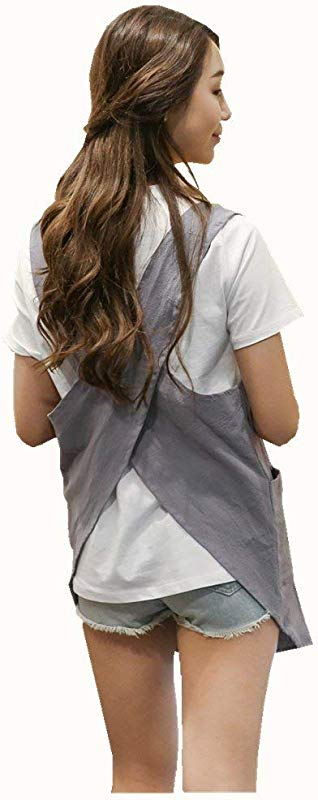 Shortened Design Apron Japanese Style Soft Cotton Linen Apron With Two Side Pockets X Cross Halter Apron Kitchen Cooking Clothes Gift For Women DIY Project Crafting Cooking Baking Light Gray