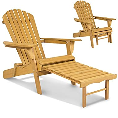Best Choice Products Outdoor Wood Adirondack Chair Foldable w/Pull Out Ottoman Patio Deck Furniture