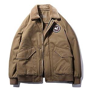 チーアン Tiann MA-1 メンズ ミリタリー ジャケット 中綿 スタジャン フライトジャケット 裏起毛 ジャンパー 上着 アウター 冬物 防寒 保温 バイクジャケット 大きいサイズ カーキ XL