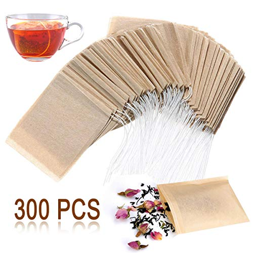 Angooni 300PCS Disposable Tea Filter Bags with Drawstring | 100% Natural & Safe Loose Leaf Tea Empty Tea Bags, 1-Cup Capacity