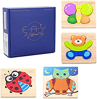 E-A-Y Wooden Animal Jigsaw Puzzles for Kids, Fun & Creative Animal Shapes Toddler Puzzles, Set of 4 Wooden Puzzles for Toddlers 1 2 3 years old, Colorful &Vibrant Educational Toys & Preschool Game Toy