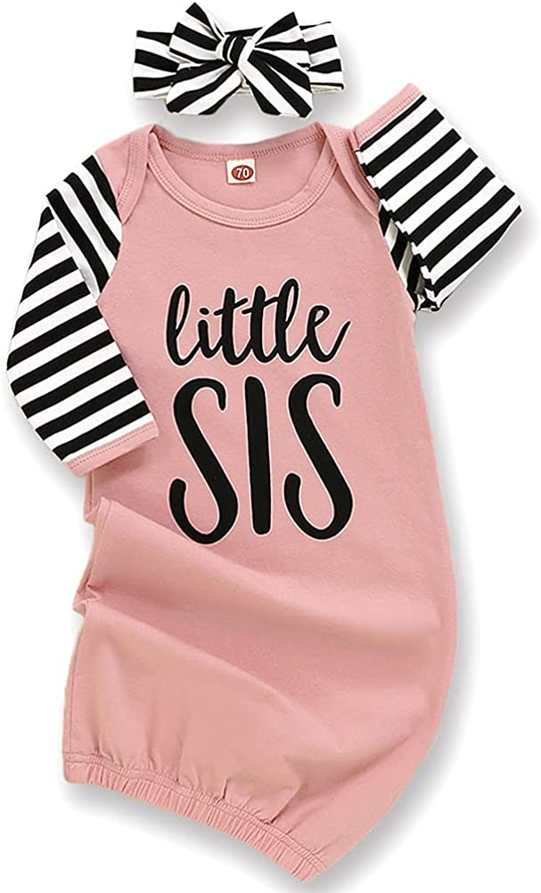 Newborn Baby Girl Little Sister Sleeper Gown Stripe Long Sleeve Nightgown Outfit