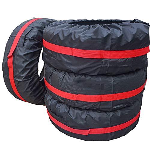 RUANMU Couvercle De Protection Housse De Protection, 4 Pièces / 1 Set Noir Rouge Polyester Couverture De Pneu, Imperméable Crème Solaire,Red,66CM