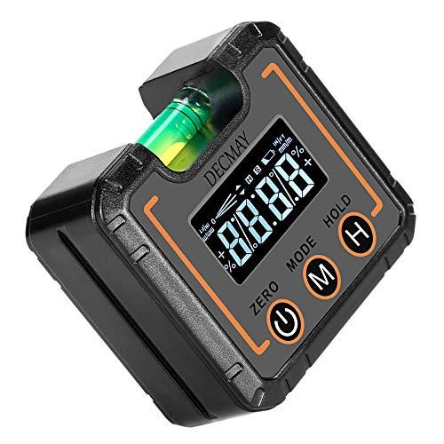 DECMAY Transportador inclinómetro electrónico digital LCD con burbujas horizontales, buscador de ángulos, base magnética, medidor de bisel para sierra de inglete, prueba de reparación de automóviles