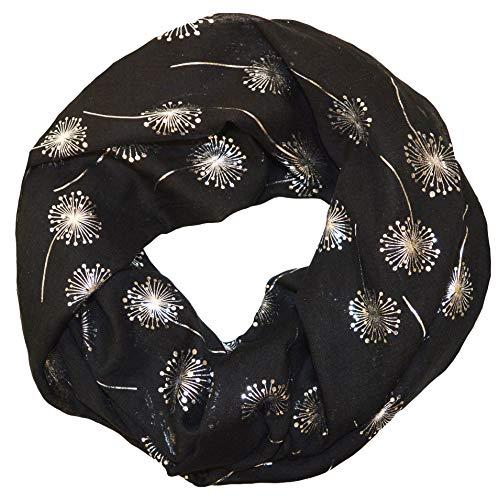 thb Richter Loopschal Rundschal mit Pusteblume Muster Schlauchschal Schals Halstuch Loop Natur Pusteblumen Blumen Print Aufdruck (Schwarz)
