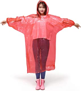 Emergency Waterproof Ponchos | Thick Disposable Raincoat with Hood - Rain Gear for Outdoor Recreation, Festivals, Camping,...