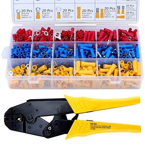 HSEAMALL Crimpzange Kabelschuhe Set, AWG22-10/0,5-6 mm² Crimpzangen Aderendhülsen Set,Kabelschuhzange mit 700 Stück Elektrische Steckverbinder Quetschverbinder für isolierte Kabelschuhe