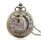 LYMUP Reloj de Bolsillo, Retro Zodiaco constelación Elegante Libra Moderno Collar Hueco Hombres Mujeres,Vapor (Color : Bronze)