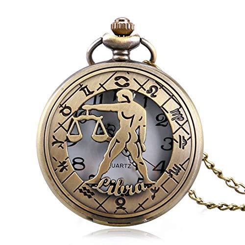 GPWDSN Taschenuhr, Retro Zodiac Constellation Stilvolle Waage Moderne Steampunk Hollow Halskette Männer Frauen, Taschenuhr und Kette für Männer personalisiert