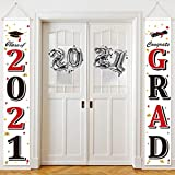 2021 Graduation Party Decorations Graduation Porch Sign 2021 Congrats Graduation Banner Hanging Flags Sign 2021 Grad Party Decors for Outdoor Indoor Home Front Door (White with Red Black Letters)