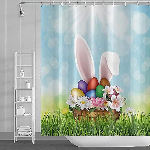 Wasserdichtes Polyestergewebe Ostern Duschvorhang Cartoon Kaninchen Bunte Eier Grünes Gras Blauer Himmel Bokeh Duschablage für Zuhause Kinder Badezimmer Badewannen Dekoration