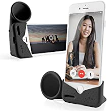 Bone Acoustic Sound Amplifier Phone Stand Audio Dock Portable Speaker Desktop Cradle for iPhone 11 & 11 Pro Max, XR & XS Max, iPhone 8 7 6 6s Plus ONLY Bare Phone, Horn Stand Series - Black (Large)