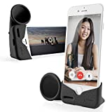 Bone iPhone Horn Stand, iPhone Sound Amplifier Stand Speaker Dock Holder for Selfie Live Stream Broadcast Webcam Video Conference for iPhone 12 12 Pro 11 11 Pro Max XR XS Max 8 7 6 Plus- Black (Large)