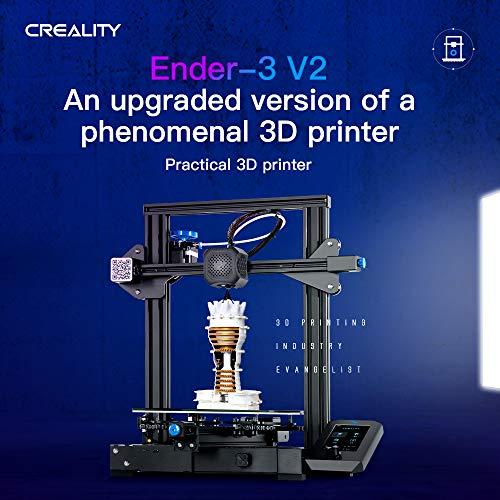 Impresora 3D Creality Ender-3 V2, 2020 Impresora 3D mejorada con placa base silenciosa, reanudar la impresión, práctica caja de herramientas, nueva pantalla