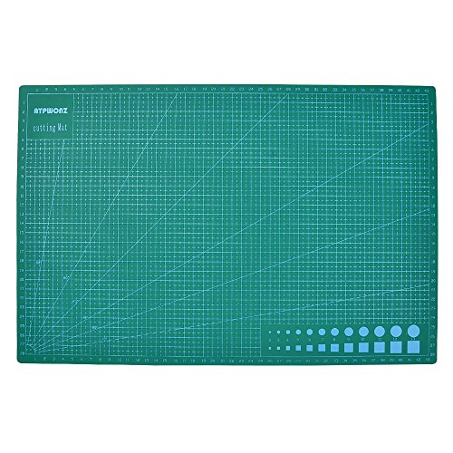 """ATPWONZ Professional Self-Healing Cutting Mat 12'' x 18"""" 5Ply Thicken Double Sided Grid Arts Crafts Sewing Quilting (A3)"""