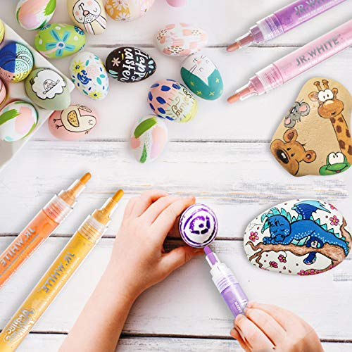 Acrylic Paint Pens for Canvas Rocks, Stone, Ceramic, Glass, Wood Painting, Arts and Crafts Gifts Cards Making. 12 Colors Acrylic Paint Markers for Kids Adults Easter Crafts Supplies Photo #4