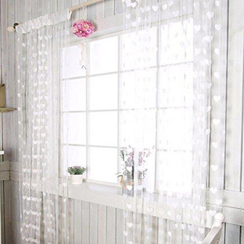 Fadenvorhang mit Herz-Motiv, Fenster-Teiler, Durchsichtig, Vorhänge – romantische Liebesherzen – Vorhang Spaghetti dichte Perlen Vorhänge für Türen, weiß, Free Size