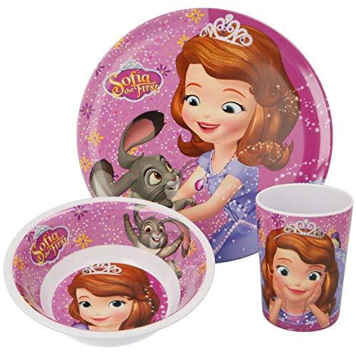 Unbekannt Disney Sofia la Primera vajilla Infantil con Plato, Cuenco para Cereales y Vaso de melamina