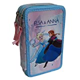 CARTOON GROUP Astuccio Scuola 3D Frozen Disney Elsa Anna MULTISCOMPARTO 3 Zip PASTELLI Fila PENNARELLI...