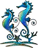 Pair of Seahorses Glass Metal Wall Art Decor Blue 22'L x 17' Wide 1326