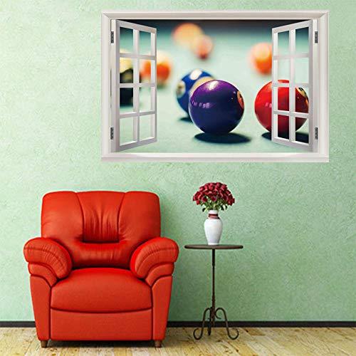 Removable 3D View Window Wall Stickers Billiards Art Mural Paper Waterproof Diy Office Home Decoration Vinyl Decal Wallpaper