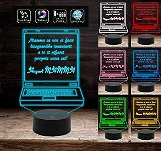 Idea regalo originale FESTA DELLA MAMMA Lampada 7 colori a led con frase personalizzabile Decorazione della casa Night Light