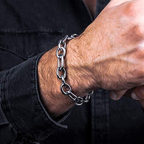 Silver Cable Chain Bracelet for Men, Handmade, Stainless Steel, 8.25', Cuban Link, Wrist Chain, Gift for Boyfriend, Husband, Waterproof