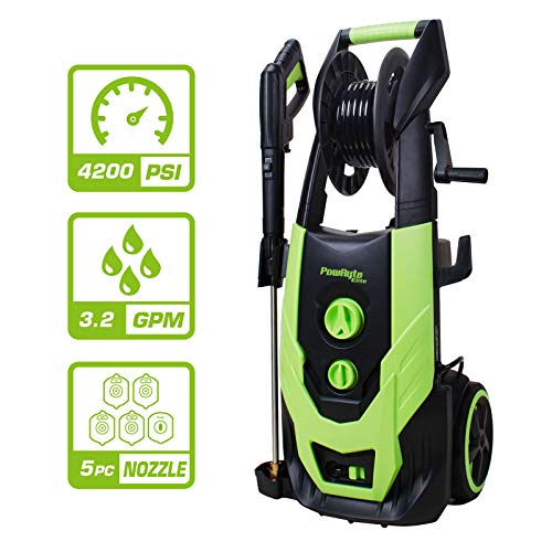 Lowest Prices! PowRyte Elite 4200PSI 3.2 GPM Electric Pressure Washer with Hose Reel, Electric Power...