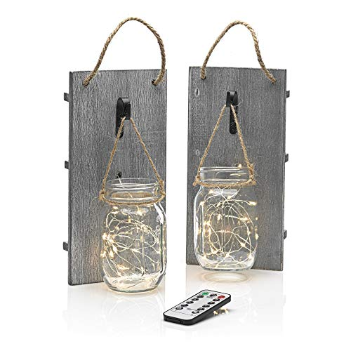 Auraglow Remote Control LED Fairy String Lights Hanging Rustic Vintage Country Wall Décor Mason Jar, Twin Pack