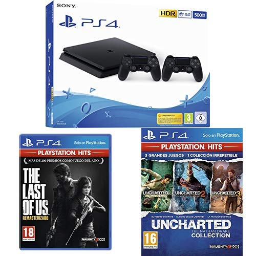 Playstation 4 Pro (PS4) - Consola de 1TB + 20 euros Tarjeta Prepago (Edición Exclusiva Amazon) - nuevo chasis G + The Last of us Hits + Uncharted Collection Hits