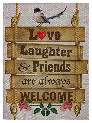pingpi Love Laughter and Friends are Always Welcome Garden Flag Vertical Double Sided Spring Summer Yard Outdoor Decorative 12.5'x18'