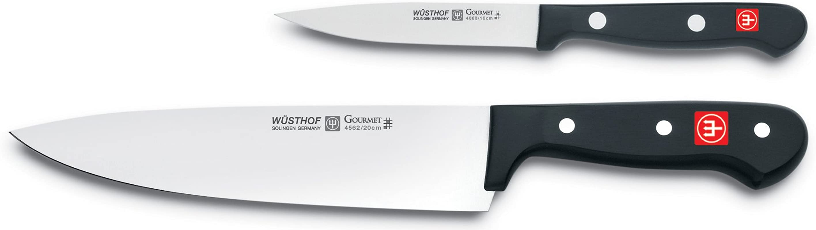 W STHOF Gourmet Two Piece Cook S Knife Set 2 Piece German Knife Set With 8 Chef S Knife 4 Utility Knife Precise Laser Cut High Carbon Stainless Steel Kitchen Cook S Knife Set Model 9654