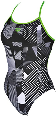 arena Damen Trainings Profi Badeanzug Optical (Schnelltrocknend, UV-Schutz UPF 50+, Chlorresistent), Black-Leaf (506), 44