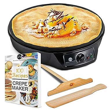 "Crepe Maker Machine Pancake Griddle – Nonstick 12"" Electric Griddle – BONUS 100 RECIPE COOKBOOK, Batter Spreader & Wooden Spatula – Pan for Roti, Tortilla, Blintzes – Portable, Compact, Easy Clean"
