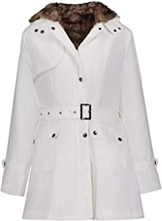 Women's Down Jacket Outdoor Windproof Cold Long Sleeve Slim Hooded Cotton Clothing Fashion Wild Lightweight Women's Clothing (Color : White, Size : XL)