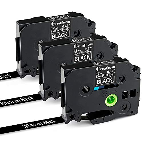 """Greateam Compatible TZ TZe Black Tape Replacement for Brother Black P-Touch Label Tape 12mm 0.47"""" TZe-335 White on Black Label Maker Tape for Brother PT-H110 PT-D210 PT-D400 PT-1280 PT-D600,3PK"""