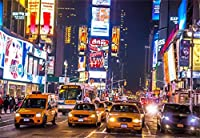 Laeacco 10 x 8フィート ニューヨークタイムズ スクエア ストリート 夜景 ビニール写真背景 バストリング 街 混雑 バス装飾 ボード 風景 背景 美しい都市景観 壁紙 スタジオ