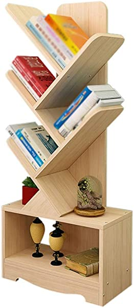 BJL Bookshelf Creative Solid Wood Simple Floor Standing Tree Shaped Bookshelf Two Sizes To Choose From OYO Size 5 Stories High 114cm