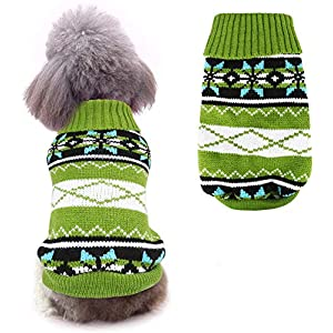 Idepet Dog Pet Sweater,Winter Warm Puppy Clothes Soft Coat Dog Costume Pullover Pet Apparel for Small Medium Dogs and Cats