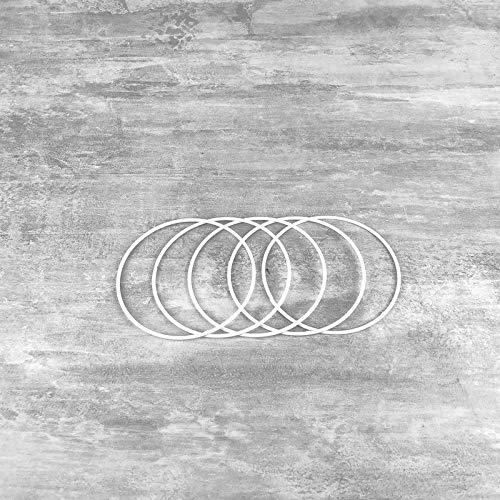 Lot de 5 Cercles métalliques Blanc diamètre 10 cm pour Abat-Jour, Anneaux epoxy Attrape rêves