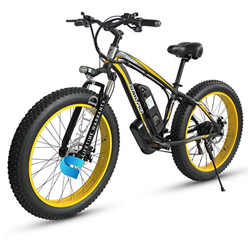 Electric Bikes For Adult, 264.0 Inch Fat Tire Electric Bike 48V 1000W Motor Snow Electric Bicycle With Removable Lithium Battery And Battery Charger And Three Working ModesBlack yellow