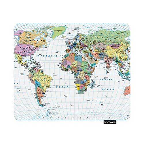 Nicokee Gaming Mouse Pad Colored World Map Borders Countries Roads and Cities Isolated Non-Slip Rubber Mouse Pad for Computers, Laptop, Office, Home Rectangle Mousepad 9.5 Inch x 7.9 Inch