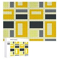 INOV モンドリアン刺激を受けた-黄色と灰色 ジグソーパズル 木製パズル 500ピース キッズ 学習 認知 玩具 大人 ブレインティー 知育 puzzle (38 x 52 cm)