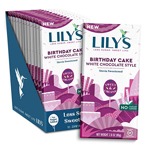 Birthday Cake White Chocolate Bar By Lily#039s Sweets | Stevia Sweetened No Added Sugar LowCarb Keto Friendly | Fair Trade GlutenFree amp NonGmo | 28 Ounce 12 Pack