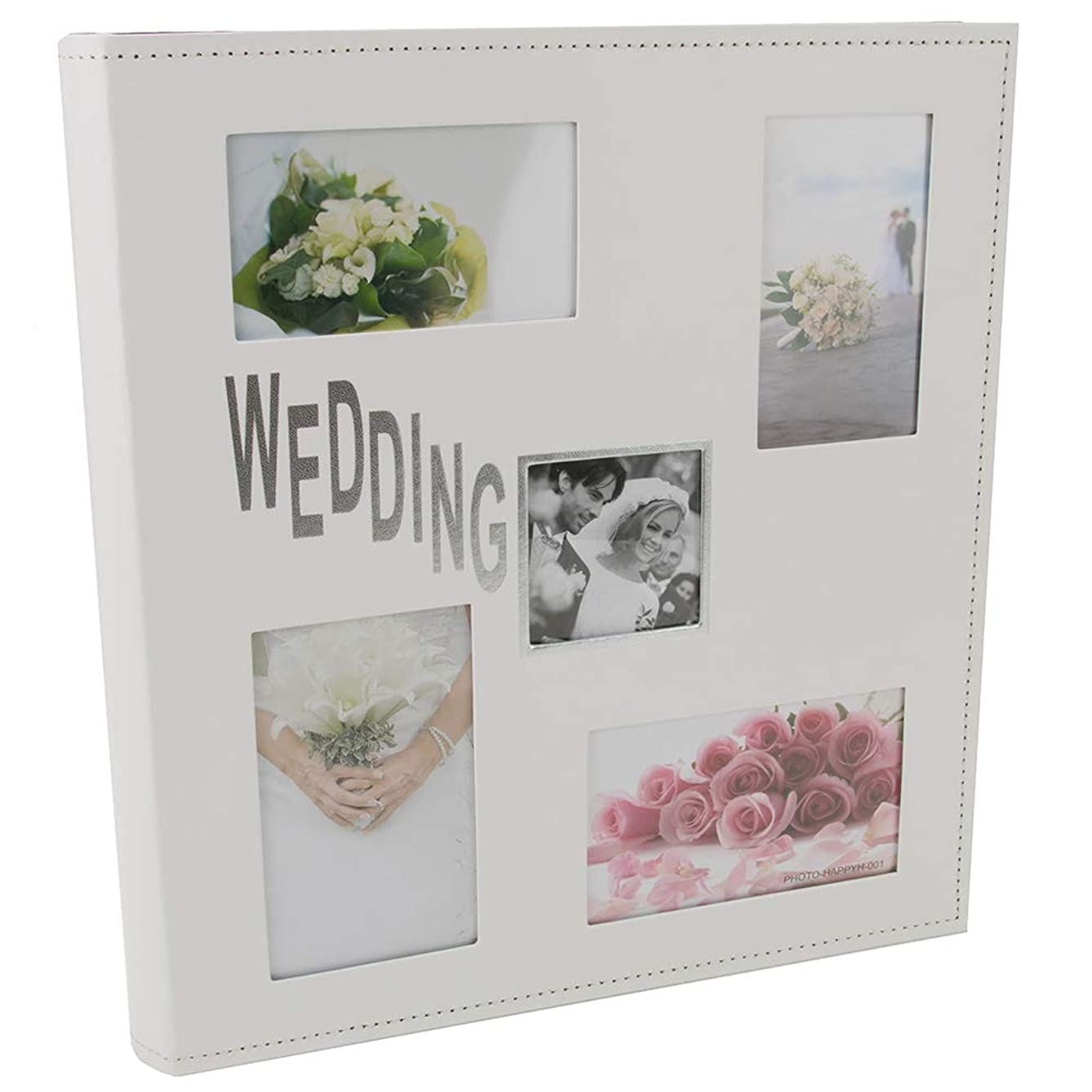 Happy Homewares Large White Faux Leather Wedding Photo Album with Stitching Decoration and Silver Foil Text Holding 200 4x6 and 6x4 Pictures