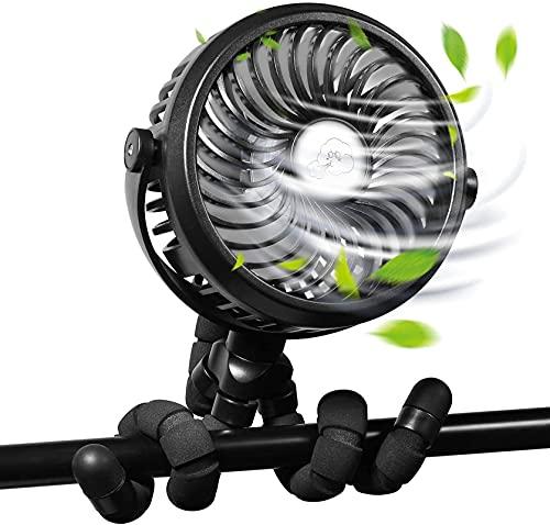 Portable Stroller Fan for Baby, Clip on Fan Baby Stroller Fan with Flexible Tripod Clip On Baby, 3 Speeds Portable Mini Handheld Personal Fan or Car Seat Crib Bike Treadmill (Black)