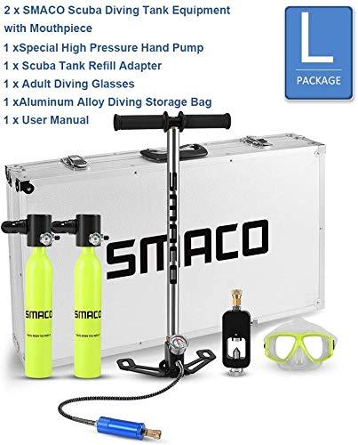 SMACO Scuba Diving Tank Ausrüstung, 0.7LMini Tauchflasche mit 5-10 Minuten Kapazität, Druck- und Korrosionsbeständigem Material mit nachfüllbarem Design