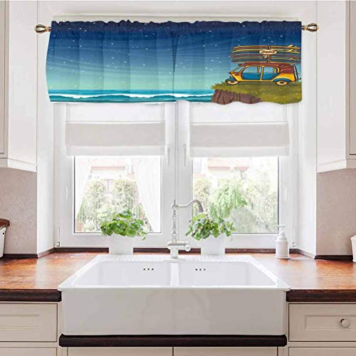 Adorise Window Curtains Car with Surfboards Blue Night Ocean Waves Travel Summer Island Illustration Pole Pocket Curtain/Drape Panels Perfect for Bathroom Window 56 x 14 Inch